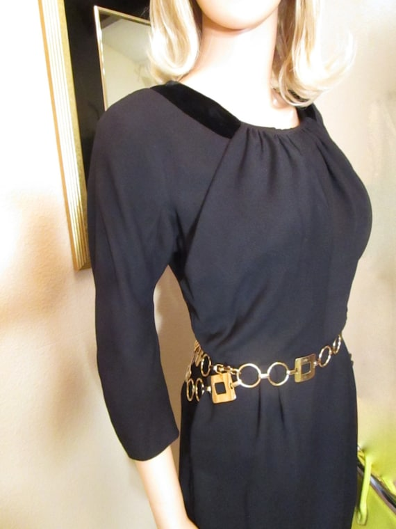 1960s Vintage Office Dress Size Small. Black Wool