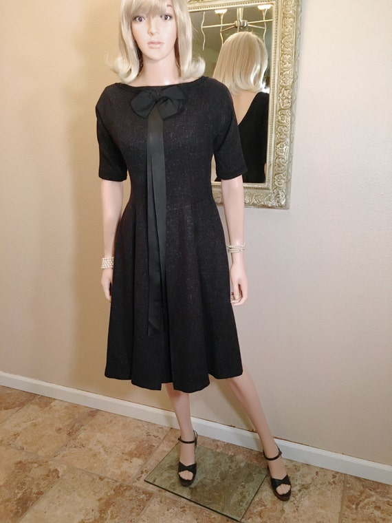1950s Black Day Dress with POCKETS! Speckled Wool