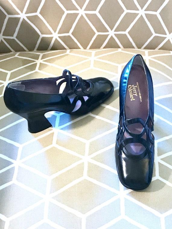 60s Jerry Edouard Shoes! Black Art Deco Shoe 5.5 M