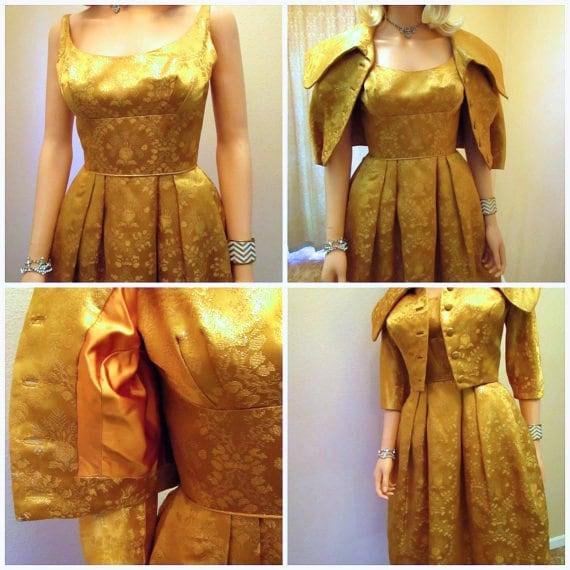 885de67b77 50s Couture Gold Lame Dress   Jacket. Silk Brocade Old