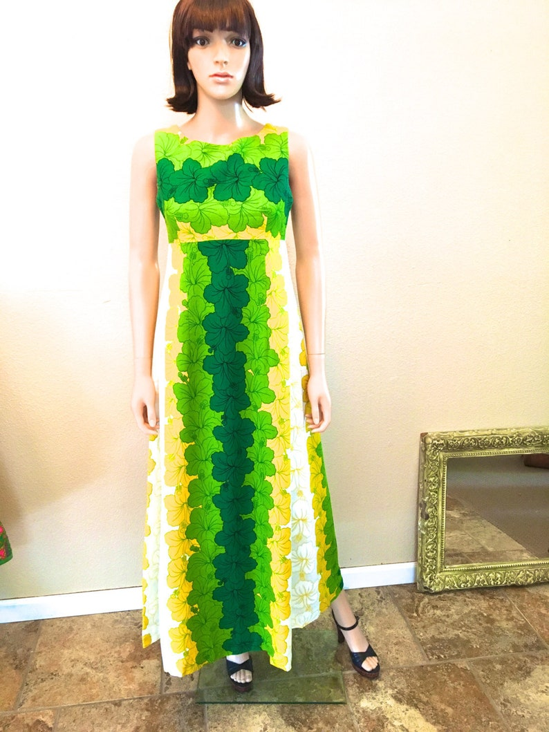 d0c7c1ae5496 1960s Hawaiian Dress. Barkcloth Hibiscus Print Maxi by