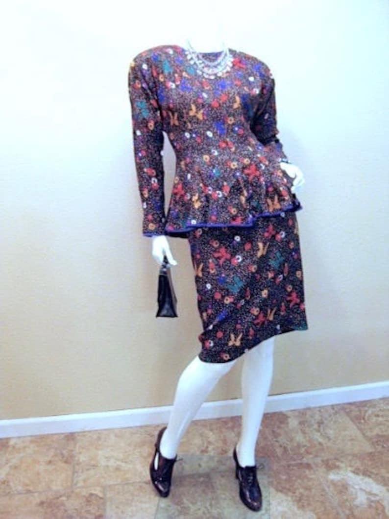 c4b67457788d Vintage Peplum Suit Size 2. 80s does 40s 2-piece Dress.