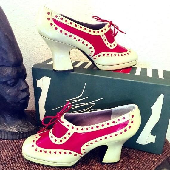 Vintage 1960s Jerry Edouard Shoe. Red & Tan Specta