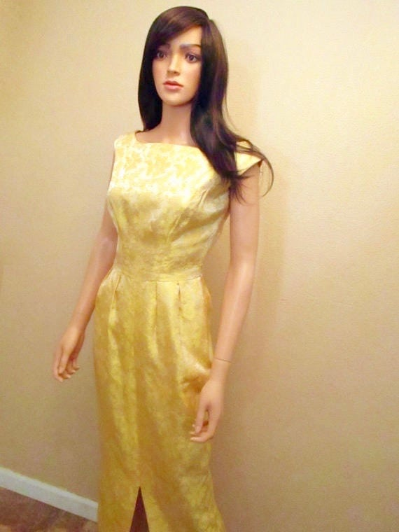 Vintage 50s Yellow Satin Evening Dress. Old Hollyw