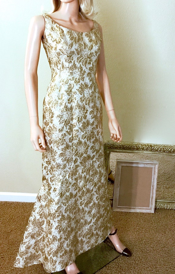 1960s Couture Gold Lame Evening Gown Size