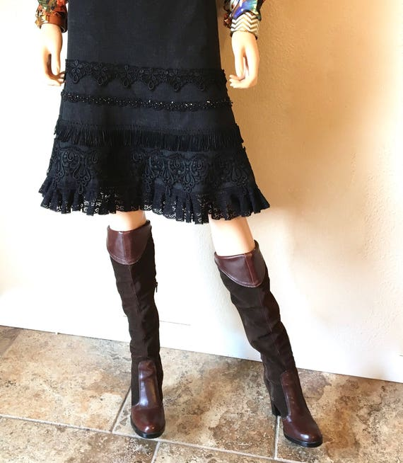 Fall Pirate Suede for Office Dressy Boot Style Boots Boot Knee Size Boot Suede 6 Brown 70s Leather Boot Slouch Vintage High Tall for z51qUU