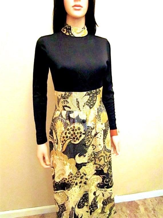 Dress Size Key 0 High Hostess Gown Neck Lame Dress Black XS Maxi Sleeve Dress Gold Lurex 2 Evening 70s Long Party Vintage Dress Cocktail zPREq