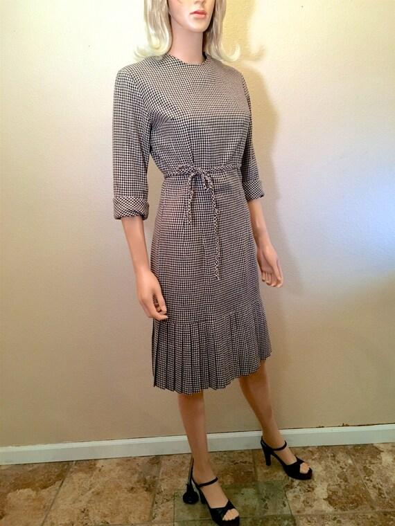 Vintage 60s Rare Edith Flagg Dress S. Black & Whit