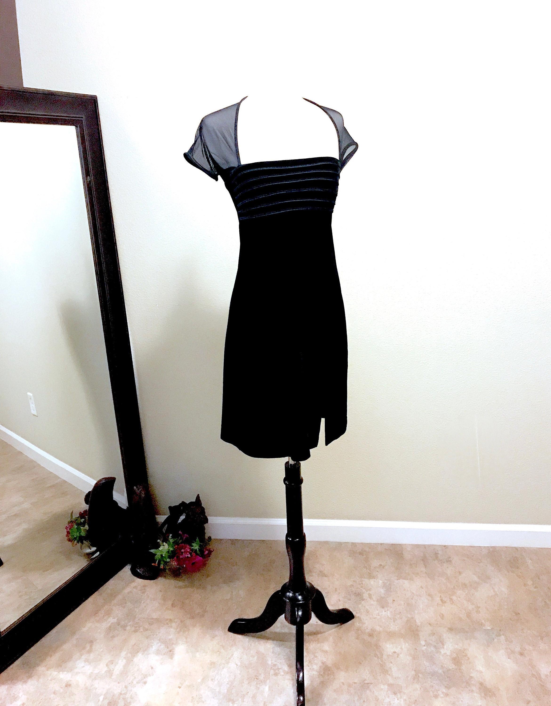 16910d48526 Vintage Sale Tadashi 80s Black Velvet Strapless Illusion