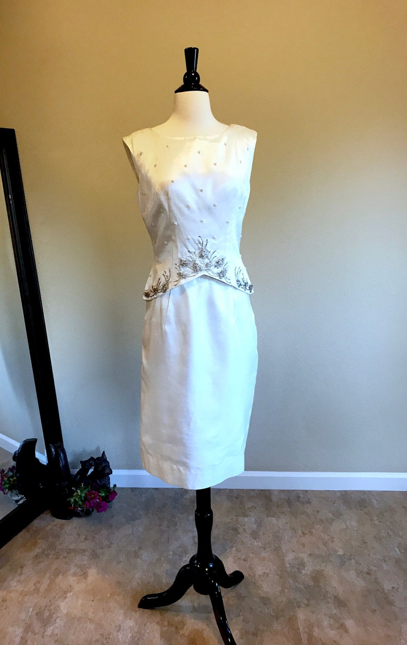 60s Mad Men Cocktail Dress 8 Ivory Raw Silk Retro Bride Second Wedding Suit Skirt Beaded Top High Waist A-line Evening Skirt by Elinor Gay