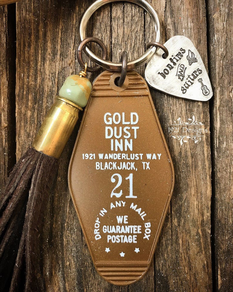 Bonfires and guitars motel fob key chain hand stamped