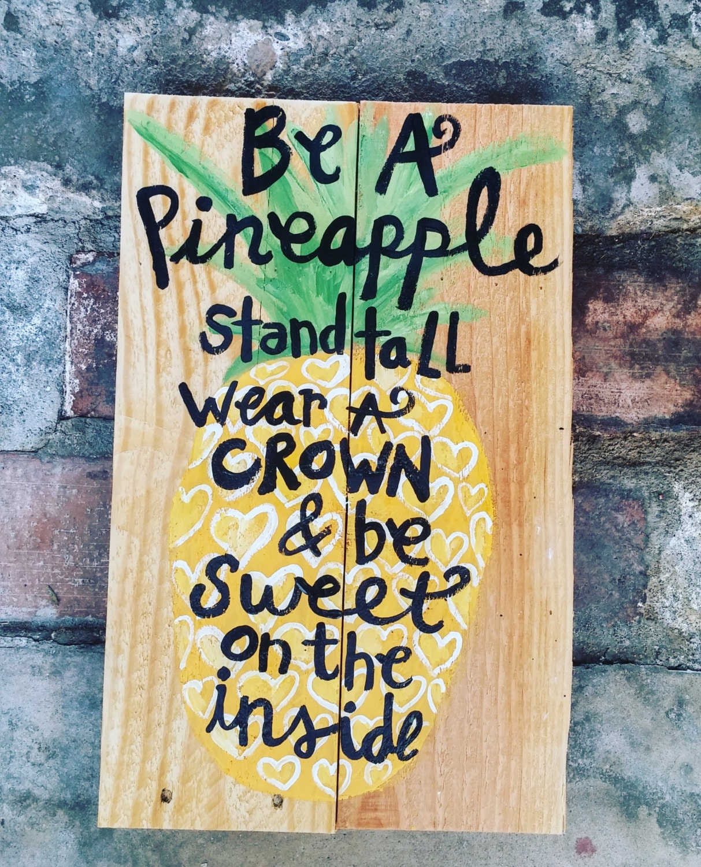 Wooden Pineapple Sign Pineapple Wall Decor Wall Art