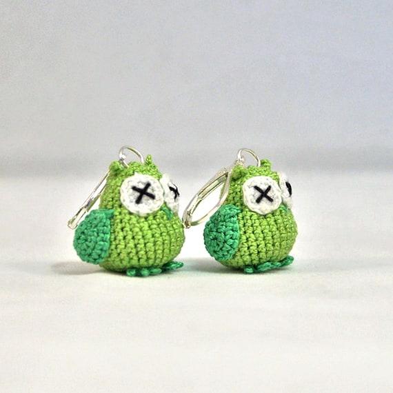 Pair of Nano Crocheted Owl Earrings - extreme miniature crochet