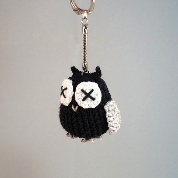 Small Crocheted Owl Keyring, Bag Charm