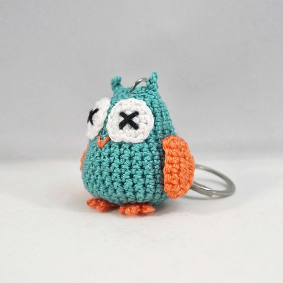 Mini Crocheted Owl Keychain, Bag Charm, Keyring