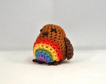 Rainbow Robin, Crocheted, size small