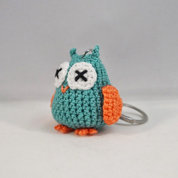 Mini Crocheted Owl Keychain, Bag Charm, Keyring