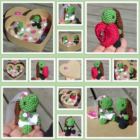 Crocheted Animal Wedding Set with Ring Cushion