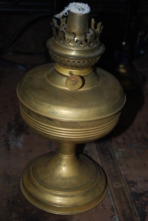 Rare Antique Old Kerosene Brass Lamp Openwork Border 1922 Year Latvia