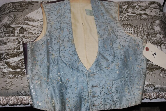 1930's Floral Blue Vest United Costumers Hollywood