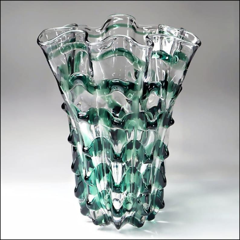 30dca4824a54 Tiffin American Studio Art Glass Emerald Fantasy Ribbon MCM