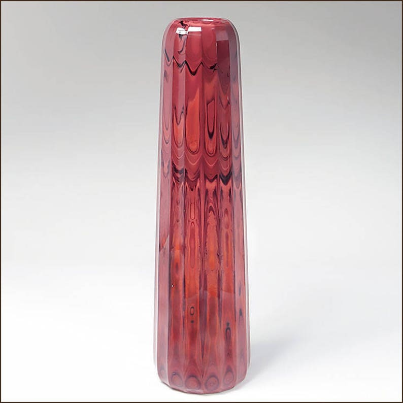 d468dbe0efb0 Art Reed Sweetwater Studio Art Glass Rare Oxblood Red Fluted