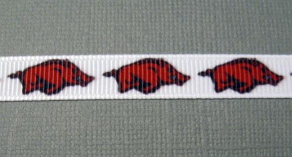 "University of ARKANSAS RAZORBACKS 7//8/"" Grosgrain Ribbon Various Yards FOOTBALL"