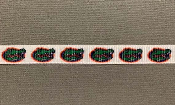 "5 Yards Florida Gators Football Sports Team White Grosgrain Ribbon 1 1//2/""W"