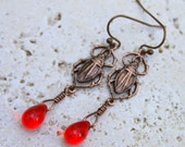 Rustic Egyptian Scarab Earrings, Copper Scarab Beetle Charms, Clear Red Czech Glass Teardrop Beads, Classic Boho Historical Nature Earrings