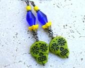 Sugar Skull Earrings, Day of the Dead Jewelry, Unique Boho Earrings Colorful Czech Glass Bead Earrings Blue Lime Yellow Funky Dangles