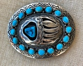 Navajo sterling silver and turquoise bear paw belt buckle