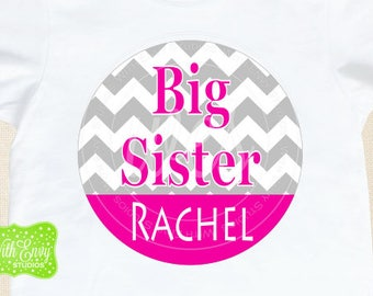 Chevron Big Sister Iron On Transfers - Sibling Iron On Decals - Big Sister Iron On - Personalized Iron Ons - EMAILED or SHIPPED