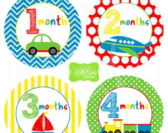 Transportation Baby Monthly Stickers - Baby Bodysuit Stickers - Monthly Baby Stickers - Boy Monthly Stickers - 035