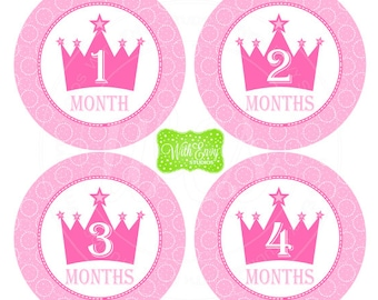 Princess Baby Monthly Stickers - Baby Milestone Stickers - Pink Crown Monthly Baby Stickers -Girl Monthly Stickers - Crown Stickers - 034