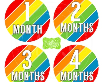 SALE Rainbow Stripes Baby Monthly Stickers - Baby Bodysuit Stickers - Monthly Baby Stickers - Unisex Monthly Stickers - 031