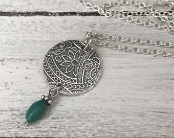 Turquoise necklace, silver necklace, southwestern necklace, paisley necklace, pmc jewelry, birthstone necklace, western jewelry.