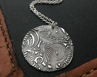 Silver statement necklace. Funky silver necklace. Paisley necklace. Bold silver necklace. Handmade silver PMC necklace. Artisan necklace.