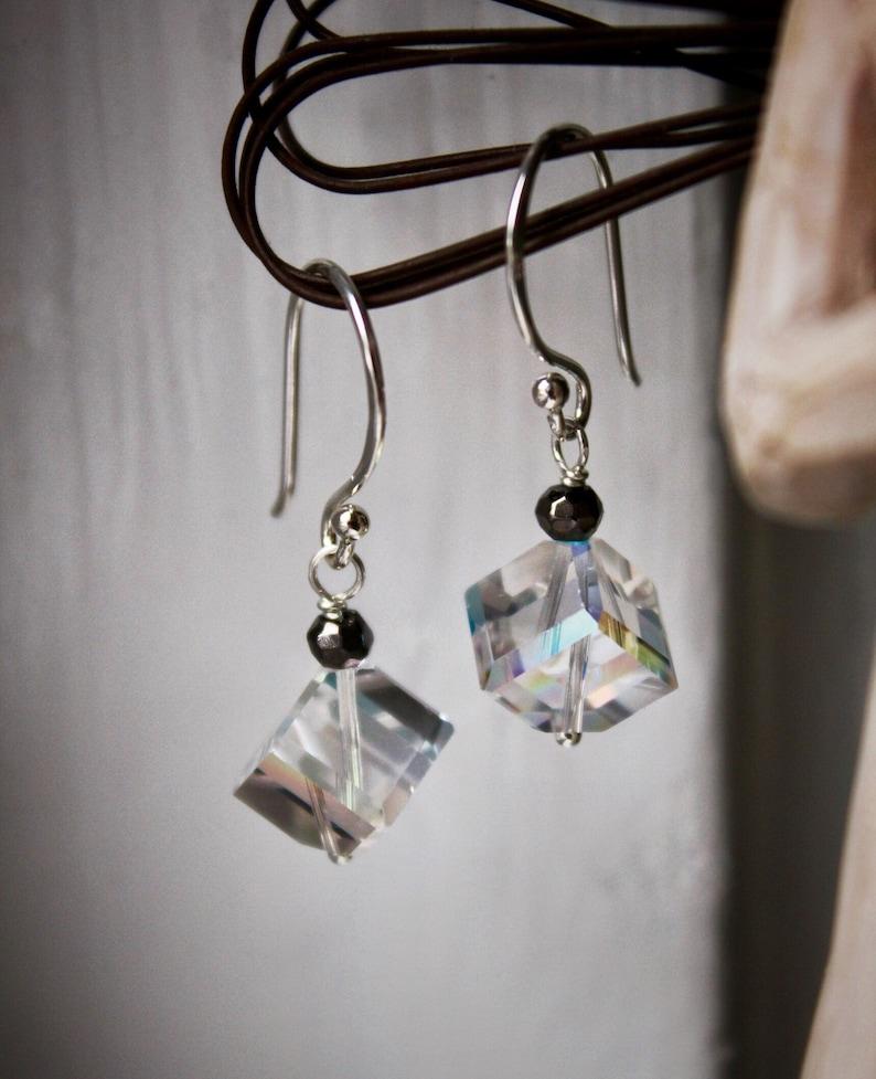3e3df2263c17d Sterling Silver Crystal Pyrite Earrings, Cube Earrings, Minimalist  Earrings, Petite Dangles, Crystal Black Jewelry, Crystal Earrings Gift