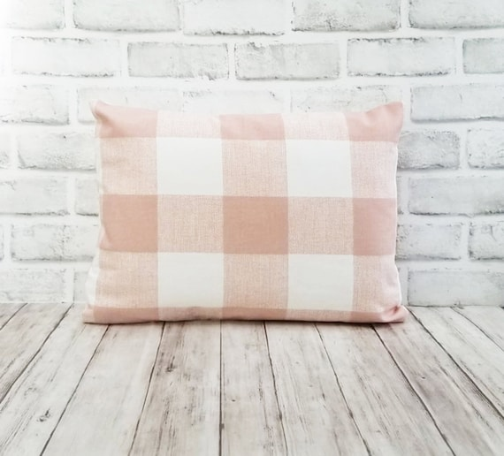 Blush Pink Buffalo Plaid Pillow Pink Pillow Cover Modern Etsy