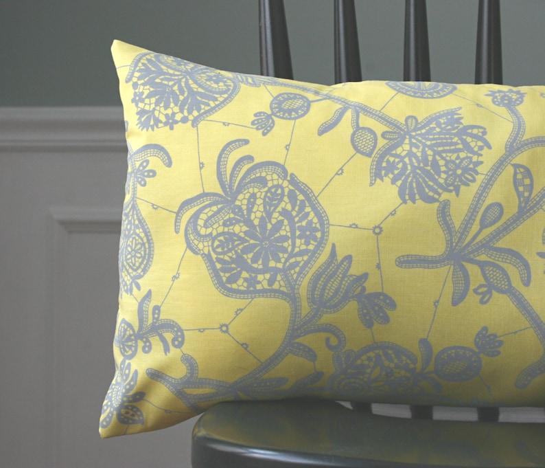 Decorative Pillow Case Botanical Print 12 x 22 Modern Decor Yellow Gray Pillow Cover Lumbar Pillow