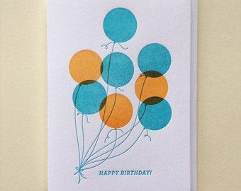 Balloons : Single Letterpress Birthday Card