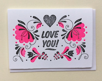 I Love You - SINGLE Letterpress Card