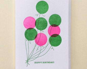 Balloons - Single Letterpress Birthday Card