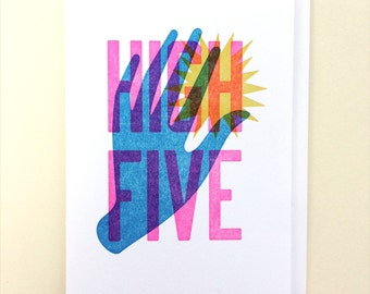High Five Single Letterpress Card