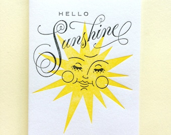 Hello Sunshine : Single Letterpress Card