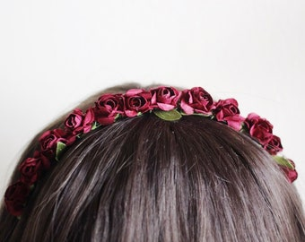 Dainty Paper Rose Headband in Romantic Rose | floral crown gift party girls women wedding photoshoot