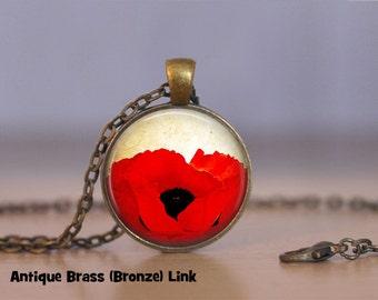 Poppy Necklace, Poppy Pendant Necklace, or Poppy Keyring, Poppy Jewelry Red Flower Poppy Flower