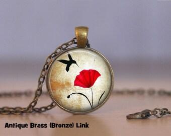 Poppy Necklace Poppy Pendant Necklace or Poppy Keyring Poppy Jewelry Red Flower Poppy Flower Hummingbird bird