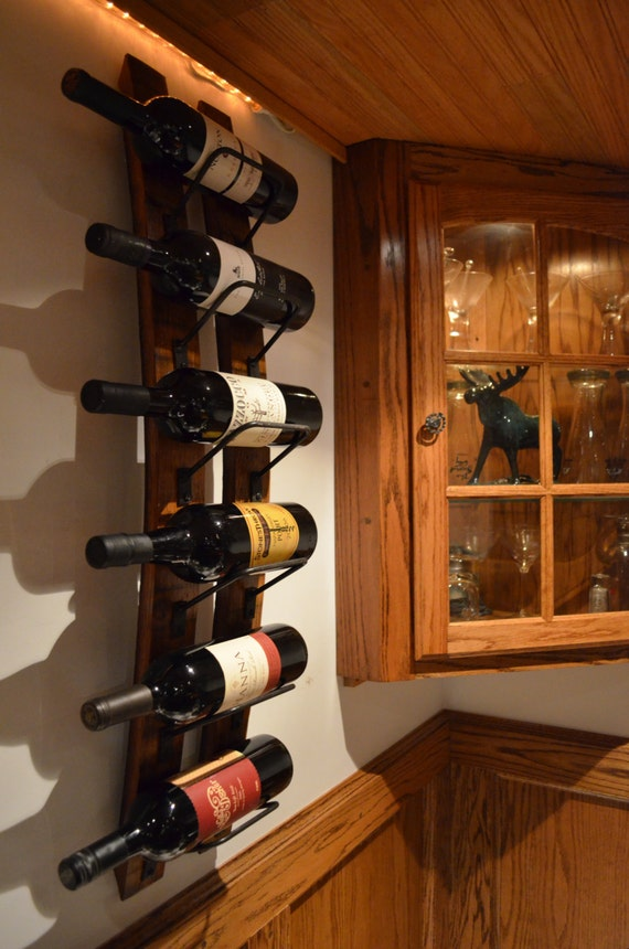 Rustic Wine Rack Made From Reclaimed Wine Barrels Wall Wine Etsy