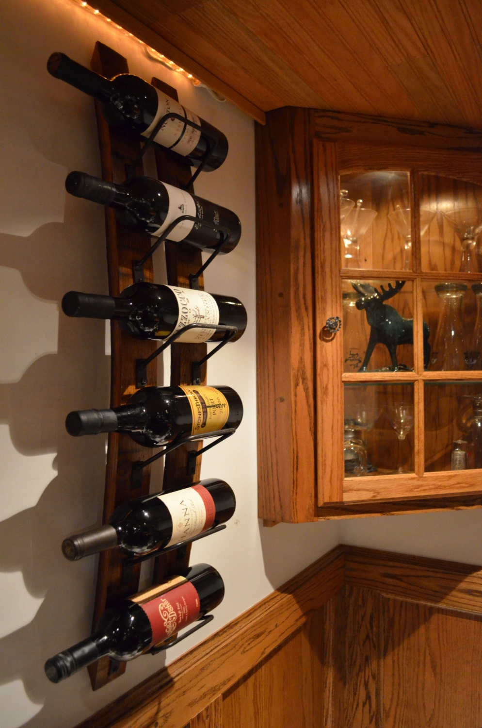 Rustic Wine rack made from reclaimed wine barrels, Wall Wine Rack